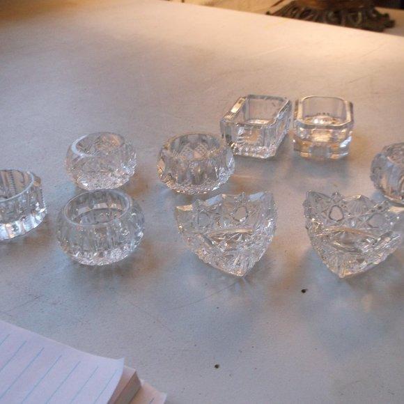vintage assorted glass salt dips. total 9